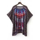 V-Neck Batwing Sleeve Tribal Print Loose Dress