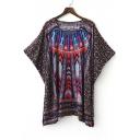 V-Neck Batwing Sleeve Tribal Print Loose Dress