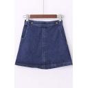 Mini High Waist A-Line Plain Denim Girls Skirts