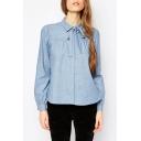 Lady's Classic Plain Lapel Long Sleeves Sash Embellish Loose Blouse&Tops
