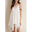 Relaxed Crochet Paneled Asymmetrical Hem Swing Cami Dress