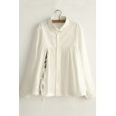 White Lapel Buttons Down Long Sleeves Shirt