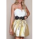 Sparkle Bandeau Padded Up Color Block Mini Dress