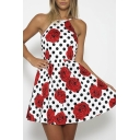 Polka Dot & Rose Print Strappy Mini Dress