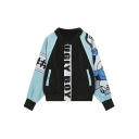 Printed Contrast Sleeve Bomber Jackets