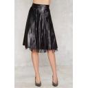 2016 Fashion High Waist Zipper Side Tassel Embellish PU/Leather A-Line Midi Icon Skirts
