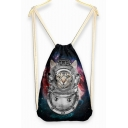 Comical Cat Print Grils Linen Drawstring Backpack