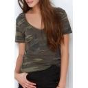 Military Green V-Neck Slightly Round Hem T-Shirt