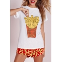 Funny Chips Print Round Neck Short Sleeves T-Shirt