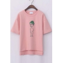 Round Neck Short Sleeves Character Print High Low Tee