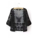 Black Lace Tulle Sheer Butterfly Embroiery Half Sleeves Blouse