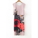 Round Neck Sleeveless Floral Print Layered Dress