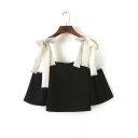Bow Tie Color Block Cold Shoulder Cropped Tank