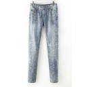 Fashion Snow Washed Five Pockets Jeans