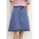A-line Classic 5 Pockets Denim Mini Skirts