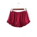 Plain Elastic Waist Ruffle Hem Cotton Safety Pants
