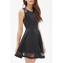 Elegant Plain Lace Patchwork Detailed Skater Dress