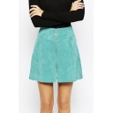 A-Line Blue High Waist Mini Zipper Front Chic Skirts