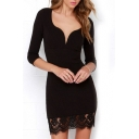Black V-Neck Lace Patchwork Long Sleeves Bodycon Dress