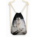 Casual Character Print Linen Drawstring Backpack