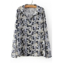 Vintage Lapel Floral Print Long Sleeves Loose Spring Blouse&Shirts