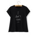 Round Neck Short Sleeves Letter Print Casual Tee