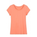 Spring Girls Round Neck Plain Short Sleeves Tee