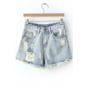 Mid Rise Raw Selvedge Light Wash Denim Shorts