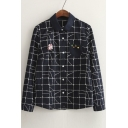 Cute Lapel Geometric Print Long Sleeves Button Down Spring Summer Shirts&Blouse