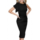 Round Neck Gathered Waist Plain Ruffled Shoulder Bodycon