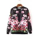 Popular Spring Floral Print Round Neck Long Sleeves Sweatshirts
