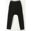 Black Plain Elastic Waist Personality Style Drop Crotch Back Detail with False Two-Piece Loose Pants
