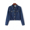 Blue Lapel Long Sleeves Tow Pockets Button Embellish Short Denim Jacket