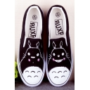 Black Hand-Painted Cartoon Totoro Canvas Platform Sneakers For Women