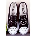 Black Hand-Painted Cartoon Totoro Canvas Platform Sneakers For Women