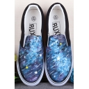 Scrawl Galaxy Hand-Painted Platform Sneakers For Women