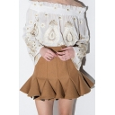 Sweet Pleated Draped High Waist Flared Skirt