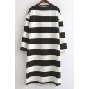 Stripes Round Neck Long Sleeves Split Hem Dress