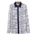 Contrast Lapel Cartoon Print Button Down Shirt