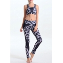 Women's Print Tight-Fitting Scoop Neck Crop Top with Stretchy Yoga&Sports Leggings Co-ords
