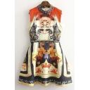 Stand Collar Totem Print Sleeveless A-Line Mini Dress