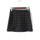 Plaid Paneled Dolphin Hem Mini Skirt