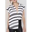Chic Special Design V-Neck Short Sleeves Striped Split Hem Tops&Blouse