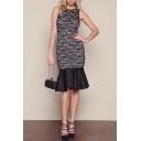 Lace Allover Scoop Neck Sheath Dress with Peplum Hem