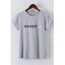 Round Neck Short Sleeves Letter Print Tee