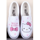 White Cute Cartoon Hand-Painted Canvas Round Toe Platform Girl's Sneakers