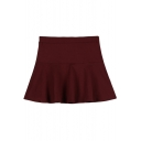 Elastic Waist Plain Flared Skirt/Flippy Skirt