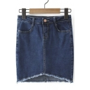 Single Button Raw Selvedge Cured Hem Denim Bodycon Skirt