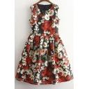 Floral Print Pleated Sleeveless Zip Back Mini Dress