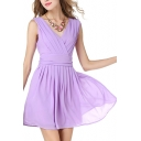 V Neck Gathered Waist Mini Chiffon Dress